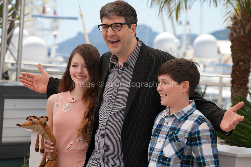 Actress Mackenzie Foy, Director Mark Osborne and Actor Riley Osborne at the The Little Prince – Le Petit Prince film photo call at the 68th Cannes Film Festival Friday 22nd May 2015, Cannes, France.