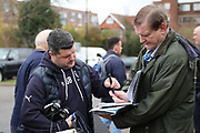 AFC Wimbledon first team coach Simon Bassey  arriving during the EFL Sky Bet League 1 match between AFC Wimbledon and Southend United at the Cherry Red Records Stadium, Kingston, England on 1 January 2018. Photo by Matthew Redman.