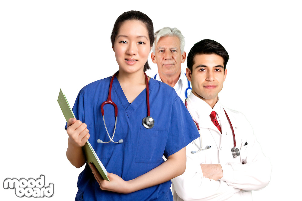 Various Doctors standing in front of white background