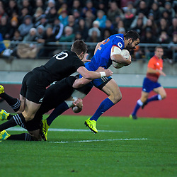 France's Geoffrey Doumayrou charges at the line during the Steinlager Series international rugby match between the New Zealand All Blacks and France at Westpac Stadium in Wellington, New Zealand on Saturday, 16 June 2018. Photo: Dave Lintott / lintottphoto.co.nz