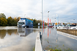 South Yorkshire flooding. Ickles Roundabout Rotherham. Specialist rescue teams from the West Midlands Fire service rescue people from vehicles and business premises along the A6178 Sheffield Road<br /> <br />  Copyright Paul David Drabble<br />  07 November 2019<br />  www.pauldaviddrabble.co.uk