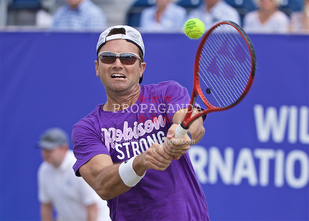 LIVERPOOL, ENGLAND - Sunday, June 23, 2019: Robert Kendrick (USA) during Day Four of the Liverpool International Tennis Tournament 2019 at the Liverpool Cricket Club. (Pic by David Rawcliffe/Propaganda)