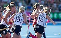 LONDON -  Unibet Eurohockey Championships 2015 in  London. England v Scotland.   Kareena Marshall (r) has scored for Scotland. WSP Copyright  KOEN SUYK