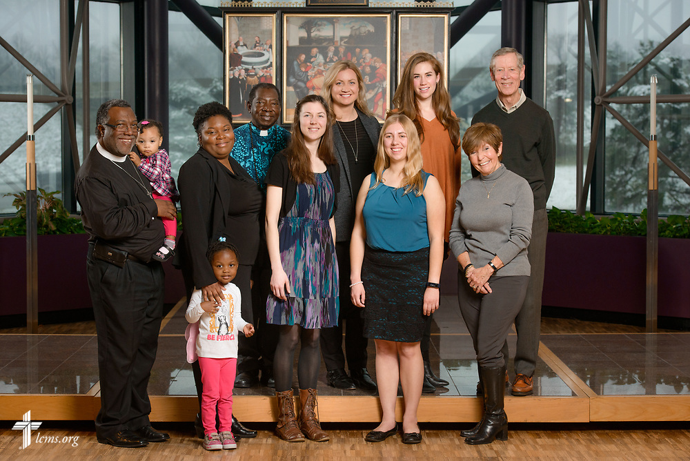 A new missionary portrait, with (L-R), the Rev. Delwyn Campbell, national missionary to Gary, Ind., with his wife Lenita and daughters Daniyah and Dinah, the Rev. Dr. John Loum, career missionary to Africa, Rebecca Schaff, national missionary to Minneapolis, Johanna Heidorn, GEO missionary to Asia, Joanna Johnson, GEO missionary to Asia, Kayla Hoem, GEO missionary to Spain, and George and Margot Fretz, GEO missionaries to Asia, at The Lutheran Church–Missouri Synod on Monday, March 13, 2017, in St. Louis. LCMS Communications/Erik M. Lunsford