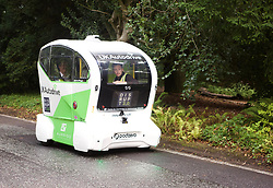 A driverless car called a Pod was exhibited at the Disrupt 2.0 tech conference held at the RBS HQ, Gogarburn, Edinburgh. The four-seater plastic bodied vehicle made in Coventry has a max speed of 15mph and is used for short-run pick up journeys. It is attracting interest from a number of blue chip companies. Pic copyright Terry Murden @edinburghelitemedia