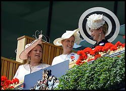 Image ©Licensed to i-Images Picture Agency. 18/06/2014. Ascot, United Kingdom. The Countess of Wessex (middle) arrive's for Day 2 of Royal Ascot at Ascot Racecourse. Picture by Andrew Parsons / i-Images