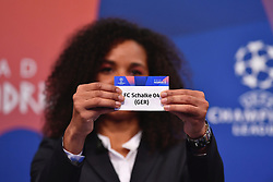NYON, SWITZERLAND - Monday, December 17, 2018: Lyon player Laura Georges holds up Schalke after making the draw during the UEFA Champions League 2018/19 Round of 16 draw at the UEFA House of European Football. (Handout by UEFA)