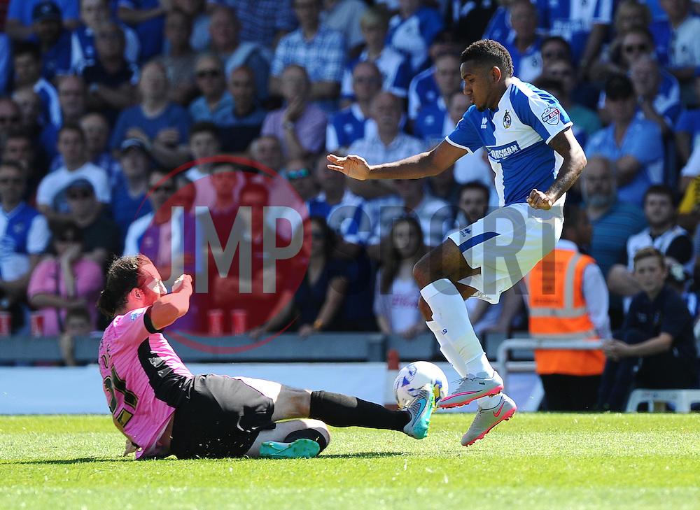 John-Joe O'Toole of Northampton Town tackles Cristian Montano of Bristol Rovers  - Mandatory byline: Joe Meredith/JMP - 07966386802 - 08/08/2015 - FOOTBALL - Memorial Stadium -Bristol,England - Bristol Rovers v Northampton Town - Sky Bet League Two