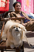 Man with local Pekinese dog in Zi Zhong Road, old French Quarter in Shanghai, China