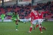 Forest Green Rovers Keanu Marsh-Brown(7) shoots at goal during the Vanarama National League match between Wrexham FC and Forest Green Rovers at the Racecourse Ground, Wrexham, United Kingdom on 26 November 2016. Photo by Shane Healey.