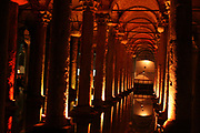 "Basilica Cistern (Turkish: Yerebatan Sarnıcı – ""Cistern Sinking Into Ground""), beneath the city of Istanbul, Turkey. The cistern, was built in the 6th century during the reign of Byzantine Emperor Justinian I."