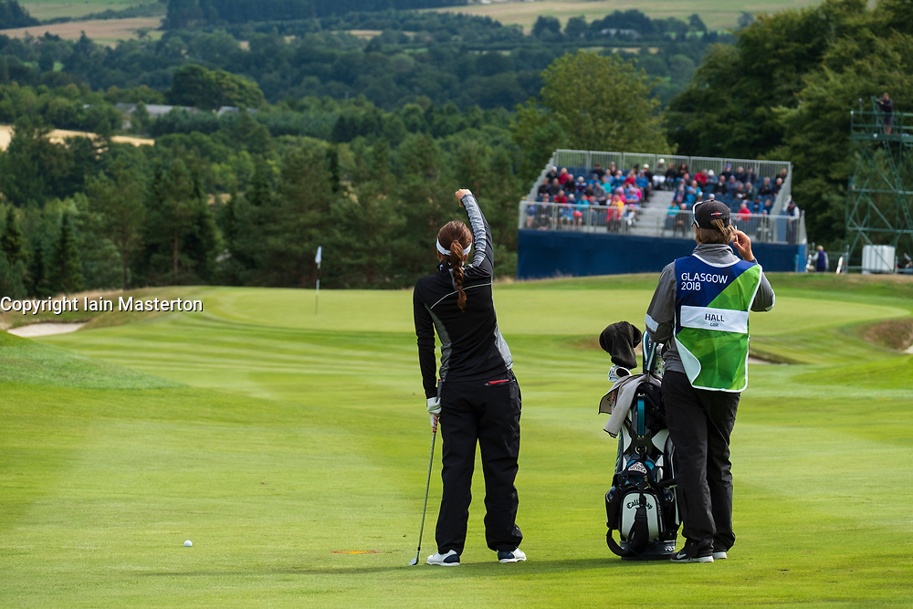 Gleneagles, Scotland, UK; 10 August, 2018.  Day three of European Championships 2018 competition at Gleneagles. Men's and Women's Team Championships Round Robin Group Stage. Four Ball Match Play format.  Pictured; Georgia Hall of Great Britain waits to play approach to 8th green  in match against Belgium.