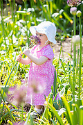 UNITED KINGDOM, London: 16 May 2019 <br /> Martha White, aged 22 months, enjoys the smelling a flower in Royal Botanical Gardens Kew new Children's Garden which officially opens on the 18th of May 2019. The impressive and colourful space covers 10,000 square metres and is designed around the elements that plants need to survive.<br /> Rick Findler / Story Picture Agency