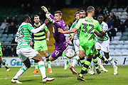 Forest Green Rovers Haydn Hollis just fails to get on the end of a cross during the EFL Sky Bet League 2 match between Yeovil Town and Forest Green Rovers at Huish Park, Yeovil, England on 24 April 2018. Picture by Shane Healey.