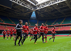 CARDIFF, WALES - Saturday, March 26, 2016: Wales' Ashley 'Jazz' Richards, George Williams, captain Ashley Williams, Chris Gunter and Neil Taylor during a training session at the Millennium Stadium ahead of the International Friendly match against Ukraine. (Pic by David Rawcliffe/Propaganda)