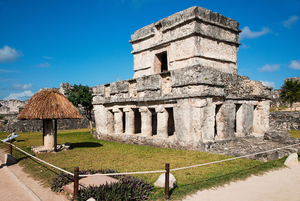 The Temple of the Frescoes is built in three levels, symbolizing the three realms of the Mayan universe - the dark underworld of the dead, the middle level of the living and finally heaven, where the gods lived.
