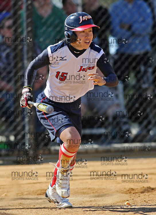 (Canberra, Australia---24 March 2012) Eri Yamada  in the Australia versus Japan women's softball game in the International Softball Challenge at the Hawker International Softball Centre in Canberra, Australia. Australia won the game 6-5 in the final inning. Copyright 2012 Sean Burges / Mundo Sport Images [seanburges@yahoo.com, seanburges@mundosportimages.com, www.mundosportimages.com].