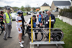 Bike check for Lisa Brennauer (GER) of WNT Rotor Pro Cycling before the prologue of 2019 Festival Elsy Jacobs, a 2.7 km time trial from Kahler to Garnich, Luxembourg on May 10, 2019. Photo by Balint Hamvas/velofocus.com