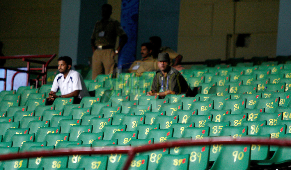 Empty chairs are seen during match 32 of the Indian Premier League ( IPL ) Season 4 between the Kochi Tuskers Kerala and the Deccan Chargers held at the Kallor Jawaharlal Nehru International Stadium in Kochi, Kerala  India on the 27th April 2011..Photo by Vino John/BCCI/SPORTZPICS .