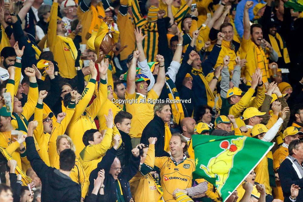03.10.2015. Twickenham Stadium, London, England. Rugby World Cup. England versus Australia.  Australian fans celebrate.   Final score: England 13-33 Australia.
