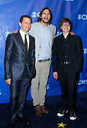 Jon Crier, Ashton Kutcher and Angus T. Jones attend the CBS Prime Time 2011-12 Upfronts in the Tent at Lincoln Center  in New York City on May 18, 2011.