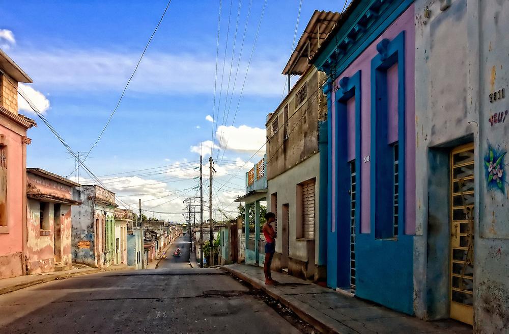 Street in San Antonio de los Banos, Artemisa, Cuba.