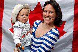 Repro Free: 30/06/2013 <br /> Charlotte Singleton (15mths) is pictured with mum Rachel Woodbyrne from Blackrock at the Canada Come Home stand prior to Canada Day at the Gardenworld Kilquade inaugural Family Garden Party in aid of Down Syndrome Ireland and Lauralynn Children's Hospice. Picture Andres Poveda