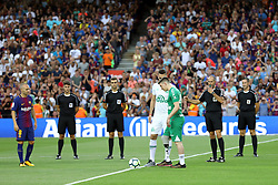 August 7, 2017 - Barcelona, Spain - Plane crash survivors Jakson Follmann with prosthetic leg and Neto of Chapecoense give the kick off ahead of the 2017 Joan Gamper Trophy football match between FC Barcelona and Chapecoense on August 7, 2017 at Camp Nou stadium in Barcelona, Spain. (Credit Image: © Manuel Blondeau via ZUMA Wire)