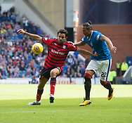 9th September 2017, Ibrox Park, Glasgow, Scotland; Scottish Premier League football, Rangers versus Dundee; Dundee's Sofien Moussa and Rangers' Bruno Alves battle for the ball
