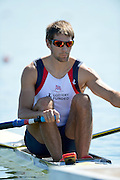 Varese,  ITALY. 2012 FISA European Championships, Lake Varese Regatta Course. ..GBR M1X. Graeme THOMAS, at the start of his heat of the Men's Single Sculls..12:31:47  Friday  14/09/2012 .....[Mandatory Credit Peter Spurrier:  Intersport Images]  ..2012 European Rowing Championships Rowing, European,  2012 010772.jpg.....