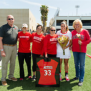 08 April 2018: The San Diego State women's lacrosse team closes out it's regular season at home against UC Davis. <br /> More game action at sdsuaztecphotos.com