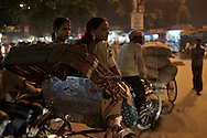 Sebnam (L) and Simram (R) on their way to meet up with their Guru. Varanasi, India.