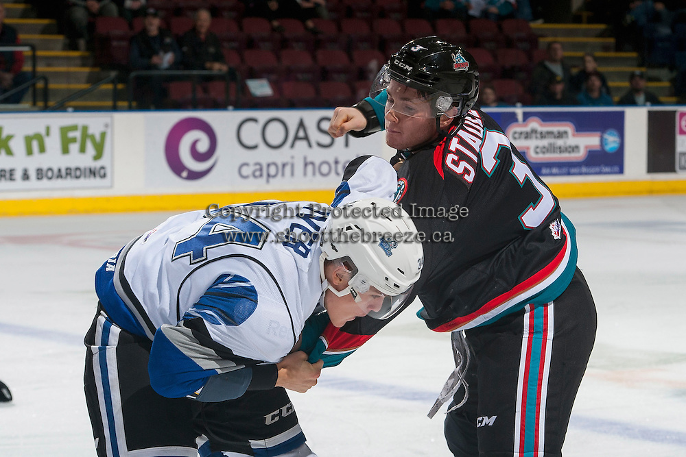 KELOWNA, CANADA - OCTOBER 26: Riley Stadel #3 of the Kelowna Rockets drops the gloves with Kaid Oliver #34 of the Victoria Royals during first period on October 26, 2016 at Prospera Place in Kelowna, British Columbia, Canada.  (Photo by Marissa Baecker/Shoot the Breeze)  *** Local Caption ***