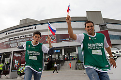 Fans of Slovenia prior to  the eight-final basketball match between National teams of Slovenia and Australia at 2010 FIBA World Championships on September 5, 2010 at the Sinan Erdem Dome in Istanbul, Turkey. (Photo By Vid Ponikvar / Sportida.com)