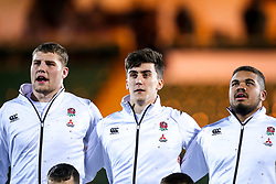 Tom Willis, Cameron Redpath Ollie Lawrence of England U20 - Mandatory by-line: Robbie Stephenson/JMP - 15/03/2019 - RUGBY - Franklin's Gardens - Northampton, England - England U20 v Scotland U20 - Six Nations U20