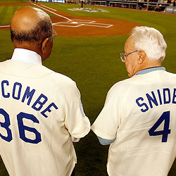 Former Dodger Duke Snider ,Right, and Don Newcombe before a National League Division Series baseball game between the Chicago Cubs and the Los Angeles Dodgers on Saturday October 4, 2008, at Dodger Stadium. (SGVN/Staff Photo by Keith Birmingham/SPORTS)