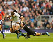 Twickenham, United Kingdom, England's, Lee DICKSON is tackled by left, Keven MEALAMU and right Arron SMITH, during the 2013 QBE  Autumn Rugby International, England vs New Zealand, played  Saturday  16/11/2013 at the RFU Stadium Twickenham, England. [Mandatory Credit: Peter Spurrier/Intersport<br /> Images}