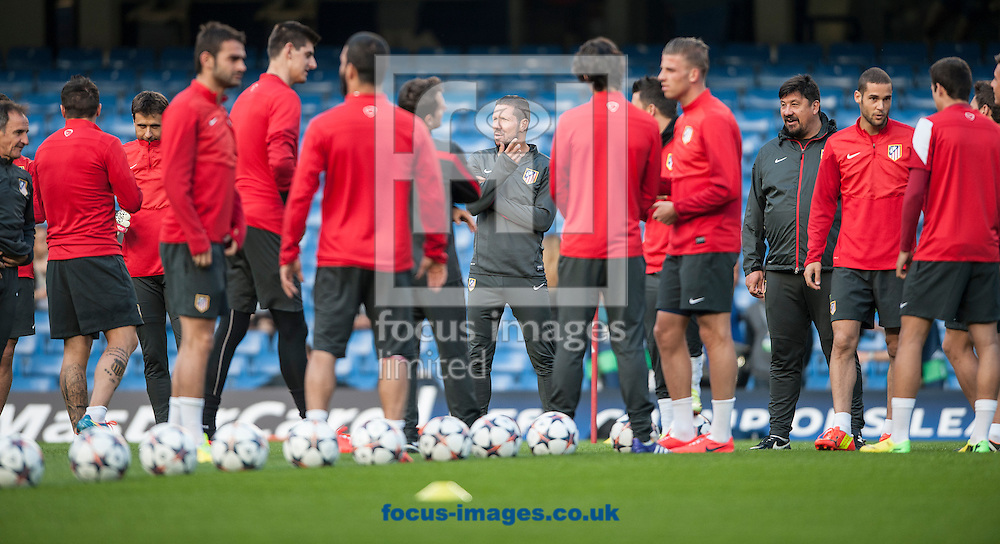 Atletico Madrid manager Diego Simeone during training at Stamford Bridge, London ahead of their UEFA Champions League semi final second leg against Chelsea.<br /> Picture by Daniel Hambury/Focus Images Ltd +44 7813 022858<br /> 29/04/2014