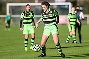 Forest Green Rovers Holly Timbrell(8) on the ball during the South West Womens Premier League match between Forest Greeen Rovers Ladies and Marine Academy Plymouth LFC at Slimbridge FC, United Kingdom on 5 November 2017. Photo by Shane Healey.