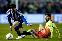 Fernando Forestieri of Sheffield Wednesday is tackled by Bernardo Silva of Manchester City - Mandatory by-line: Robbie Stephenson/JMP - 04/03/2020 - FOOTBALL - Hillsborough - Sheffield, England - Sheffield Wednesday v Manchester City - Emirates FA Cup fifth round