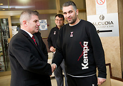 Franc But, Ambassador Extraordinary at Embassy of the Republic of Slovenia in Serbia with Boris Denic, head coach of Slovenia Men Handball team during 3rd day of 10th EHF European Handball Championship Serbia 2012, on January 17, 2012 in Hotel Srbija, Vrsac, Serbia.  (Photo By Vid Ponikvar / Sportida.com)