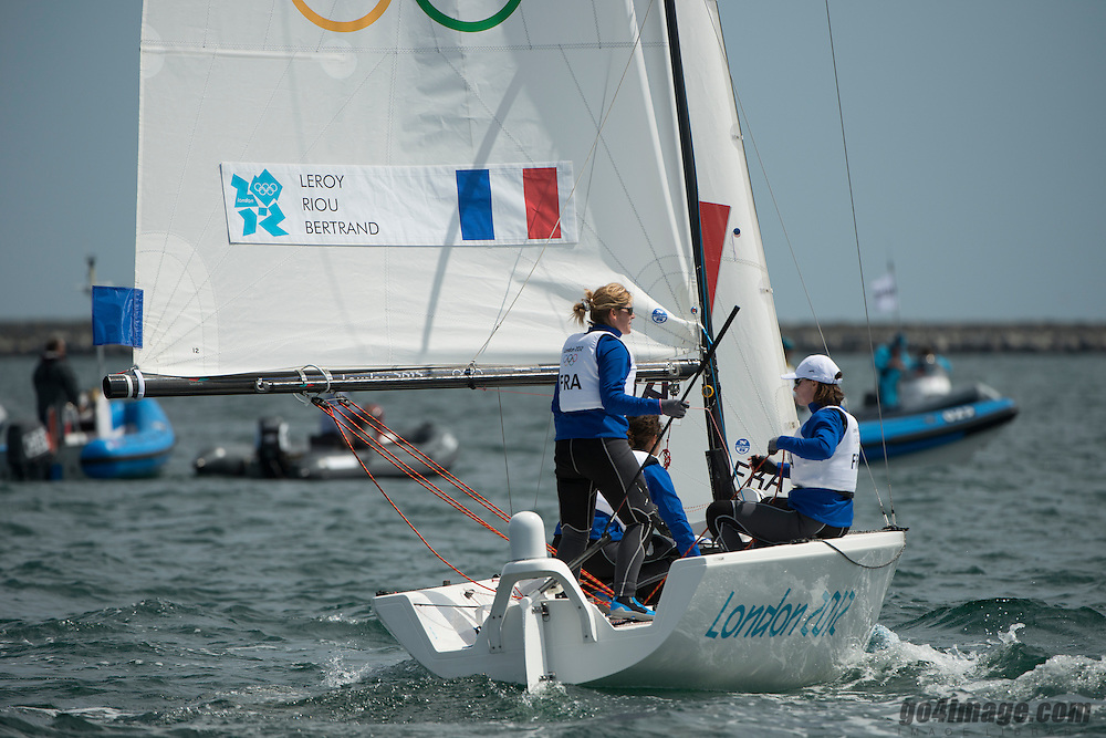 2012 Olympic Games London / Weymouth<br /> <br /> Match Race Training<br /> Match RaceFRALeroy Claire, Bertrand Elodie, Riou Marie