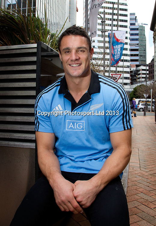 Dan Carter of the All Blacks poses for a photo after a media stand up ahead of their first match of the Investec rugby championship. Intercontinental Hotel, Wellington. 9 August 2013. Photo: Marty Melville/photosport.co.nz