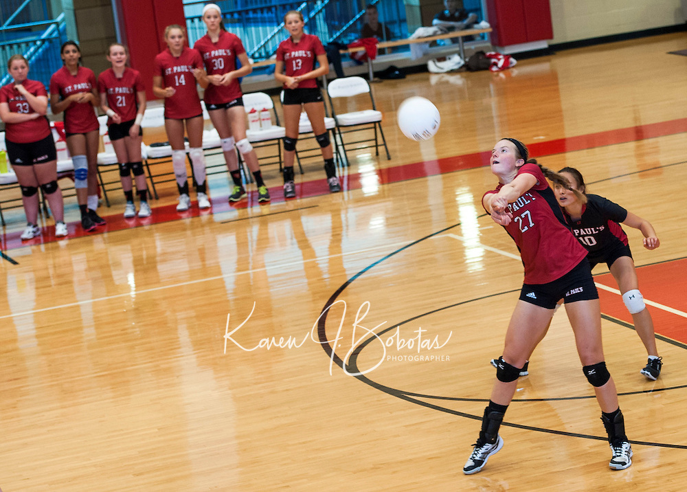 St Paul's School varsity Volleyball Wednesday, September 25, 2013..  © 2013 Karen Bobotas / for St Paul's School