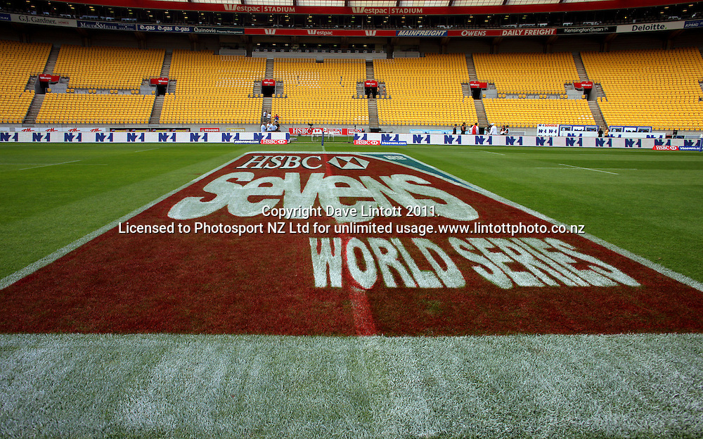 The 3D HSBC signage painted on the field. IRB Wellington Sevens - Day One at Westpac Stadium, Wellington, New Zealand on Friday, 4 February 2011. Photo: Dave Lintott / photosport.co.nz