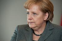 24 MAR 2010, BERLIN/GERMANY:<br /> Angela Merkel, CDU, Bundeskanzlerin, waehrend einem Interview, in Ihrem (uebergangsweise während Renovierungsrabeiten bezogenen) Buero, Bundeskanzleramt<br /> IMAGE: 20100324-01-003