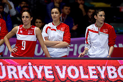 09-01-2016 TUR: European Olympic Qualification Tournament Turkije - Italie, Ankara<br /> De strijd om de tweede Japan ticket wordt gewonnen door Italie. Turkije verliest in de 5de set met 13-15 / Busra Kilicli #9 of Turkey, Bahar Toksoy Guidetti #8 of Turkey