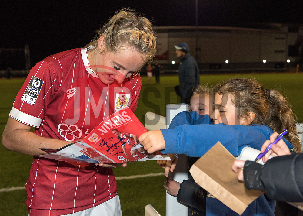 Millie Turner of Bristol City Women signs an autograph - Mandatory by-line: Paul Knight/JMP - 28/10/2017 - FOOTBALL - Stoke Gifford Stadium - Bristol, England - Bristol City Women v Reading Women - FA Women's Super League