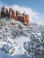 Snow on Coffee Pot Rock, Coconino National Forest, Sedona, Arizona,