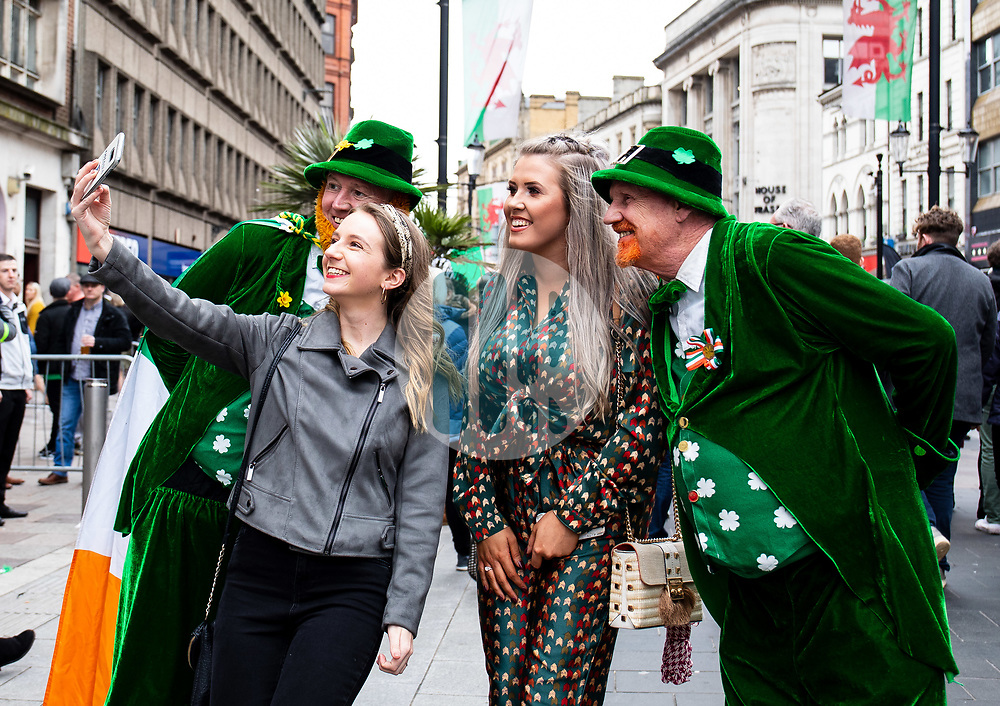 Ireland fans take a selfie <br /> <br /> Photographer Simon King/Replay Images<br /> <br /> Six Nations Round 5 - Wales v Ireland - Saturday 16th March 2019 - Principality Stadium - Cardiff<br /> <br /> World Copyright © Replay Images . All rights reserved. info@replayimages.co.uk - http://replayimages.co.uk